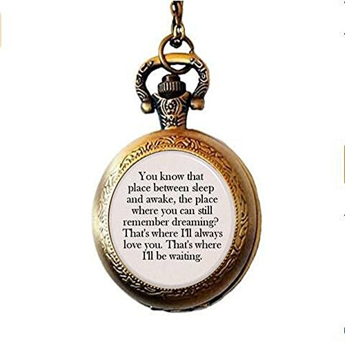 (Tinkerbell You know that place between sleep and awake. Pendant Pocket Watch Necklace Gift Inspiration Jewelry)