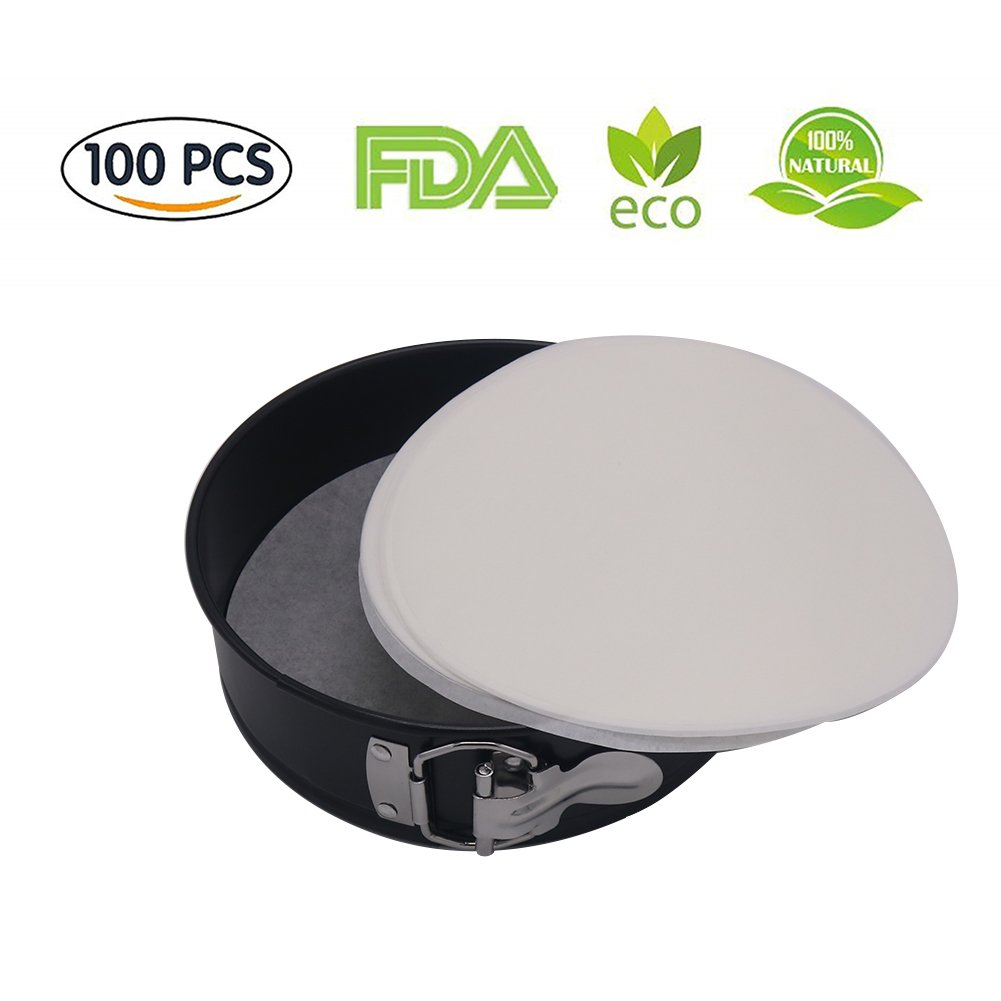 Set of 100 Springform Cake Tin Steaming Basket Air Fryer Liner 7 Inch Perforated Parchment Paper//Bamboo Steamer Paper//Parchment Paper Circles for Air Fryer