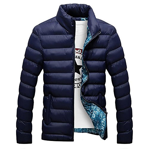 Warm Zippered Cotton Collar Padded Jacket M 4XL Outerwear Winter blue Dark Stand Men Casual Aqwp1fxnC