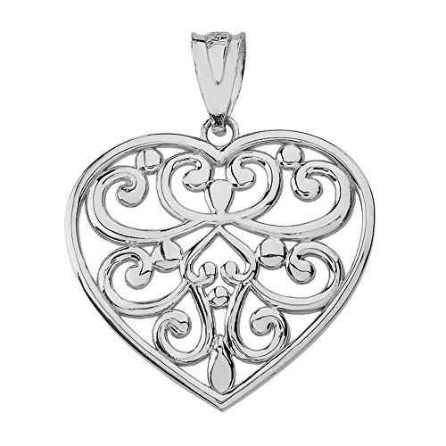 (Solid 10k White Gold Filigree Love Heart Shaped Charm Pendant (1