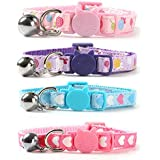 "CHUKCHI 4 PCS Kitten Collar,Soft Adjustable Breakaway Safety Cat Collar with Bell 8""-12"",Cat Bell Collar with Heart…"