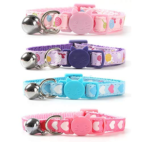 """CHUKCHI 4 PCS Kitten Collar,Soft Adjustable Breakaway Safety Cat Collar with Bell 8""""-12"""",Cat Bell Collar with Heart-Shaped Nylon Strip for Cat, Puppy, Kitty"""