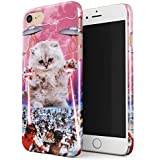 Glitbit iPhone 7 / 8 Case Laser Cat Alien UFO Space Cats Kitten Galaxy Cosmic Trippy Kitty Thin Design Durable Hard Shell Plastic Protective Case For Apple iPhone 7 / 8