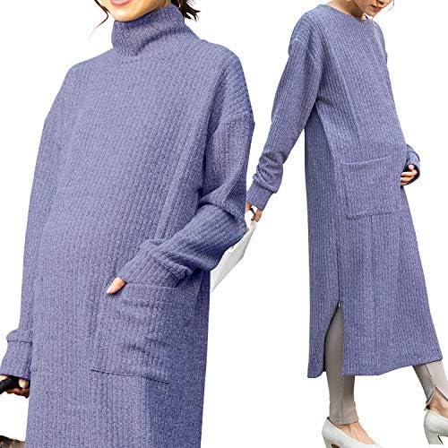 Sweet Mommy マタニティ 授乳服 ワンピース リブニット サイドスリット調節可 ネックデザイン選べる クルーネック ラベンダー