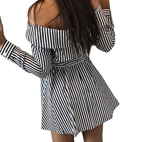 Spalla Fibra Nero Fuori Providethebest Donne Up Di Button Lungo Beach A Strisce Dress Manica Mini Abito Poliestere Ybf6Iy7gv