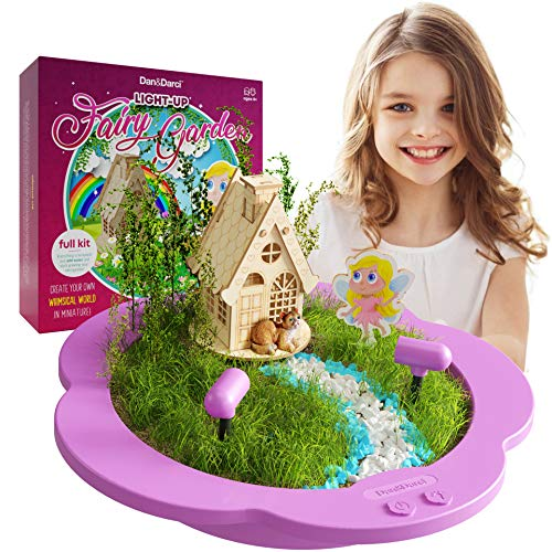 Light-up Fairy Garden Kit for Kids - Craft & Grow Your Own Garden for Girls & Boys : Includes Everything to Make a Little DIY Magical Enchanted Paradise Gardens - STEM Crafts -Toy Kits