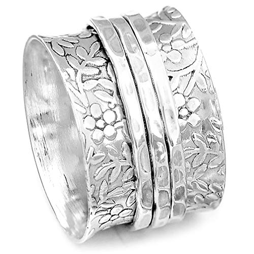 Boho-Magic 925 Sterling Silver Spinner Ring for Women | Nature Flowers Spinning Ring | Wide Band Fidget Meditation Anxiety Relief | Statement Chunky Jewelry Size 6-10 (11)