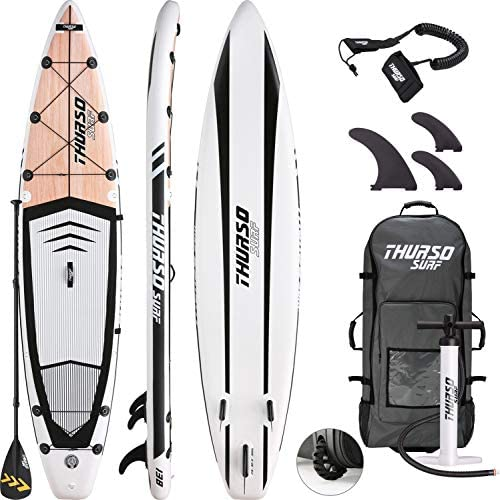THURSO SURF Expedition Touring Inflatable Stand Up Paddle Board SUP 11 6 x 30 x 6 Two Layer Deluxe Package Includes Carbon Shaft Paddle 2 1 Fins Leash Pump Roller Backpack