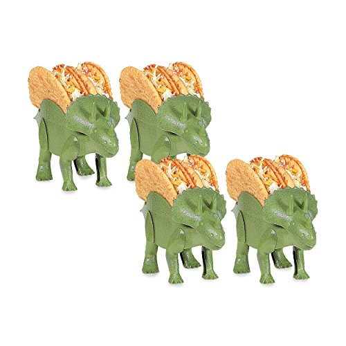 4-Pack Dino Taco Holder, Novelty Dino Taco Holders for Kids, 10''x5.5 Triceratops Taco Holder, Fun Taco Holders for #TacoTuesday, Green Taco Triceratops, Dinosaur Taco Holder for Indoor and Outdoor Pic by California Home Goods