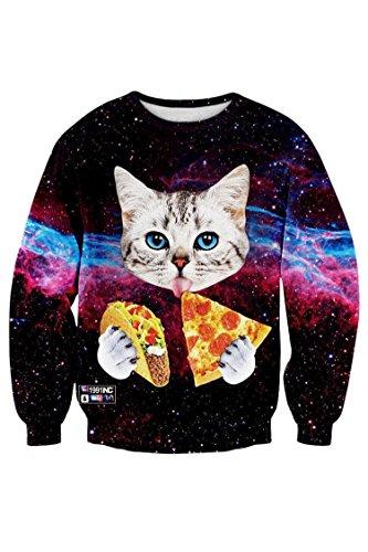 Kisscy Women's Pizza Cat Printed Round Neck Galaxy Cosmic Ugly Christmas Sweatshirt Sweater M
