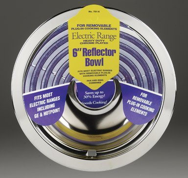 Stanco Range Reflector Bowl No. 701-6 Fits Most Electric Ranges With Plug In Elements Chromed Steel, (Stanco Metal)