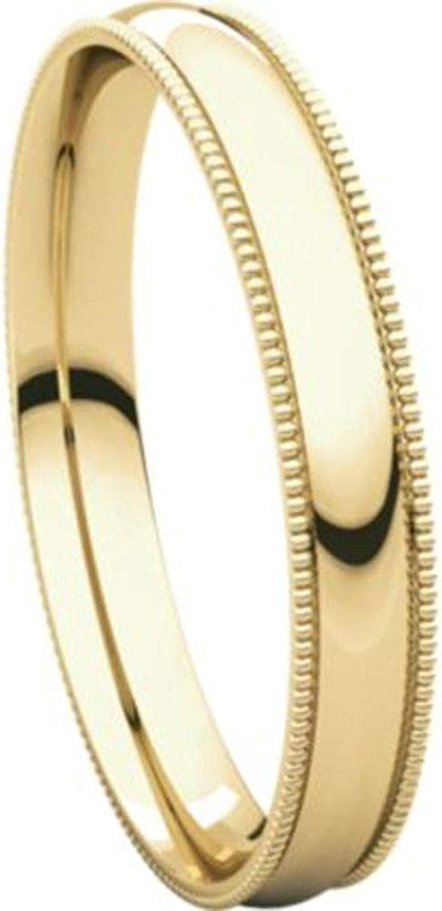 Bonyak Jewelry 10k Yellow Gold 3 mm Milgrain Lightweight Comfort-Fit Band