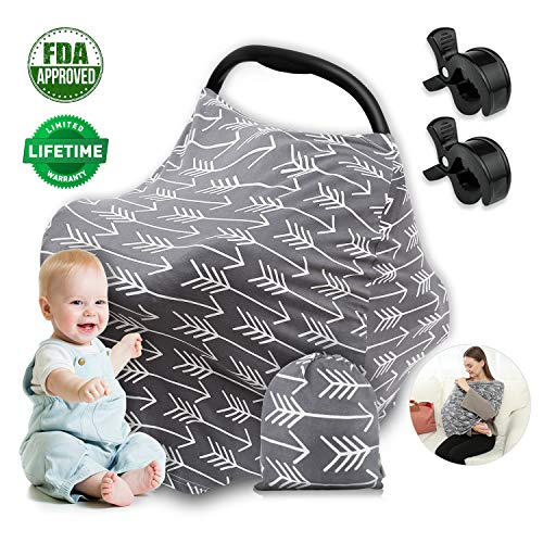 Car Seat Covers for Babies Infant Girls Boys Nursing Cover Breastfeeding Scarf, Soft Multi-Use Stretchy Stroller Canopy for Newborns, Baby Carrier Cover with 2 Clips (Gray Arrows)
