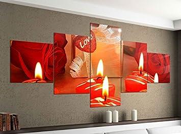Amazon De Acrylglasbilder 5 Teilig 200x100cm Kerzen Liebe Rosen