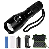 Wilker CREE XML T6 1000 Lumens Super Bright Tactical LED Flashlight Kit with Adjustable 5 Light Mode and Zoomable Focus (Sports)