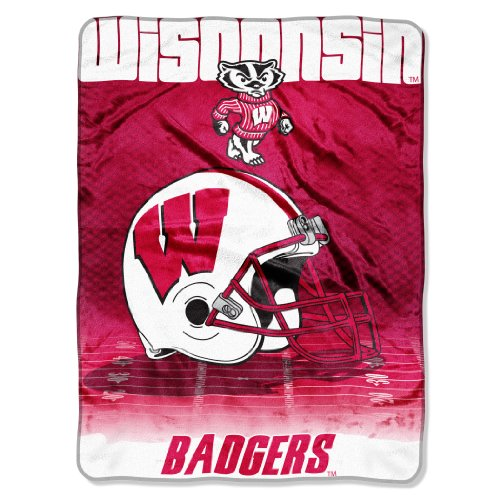 (Officially Licensed NCAA Wisconsin Badgers Overtime Micro Raschel Throw Blanket, 60