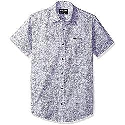 Zoo York Men's Short Sleeve Button Down Woven, Grain White, Medium
