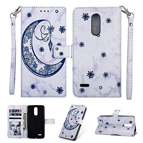 IVY Marble K10 Wallet Case [Embossed Moon] PU Leather Flip Cover with Wrist Strap for LG K10 2018/K30/K11/K10+/Premier Pro/Premier LTE/Phoenix Plus - Blue