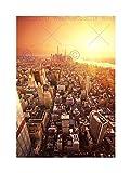 DT NEW YORK BIRDS EYE VIEW SUNRISE BLACK FRAME FRAMED ART PRINT PICTURE B12X8652