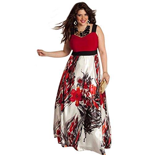 VICVIK Womens Sleeveless Printing Lace Prom Formal Dress Plus Size XL - 5XL (L, Red)