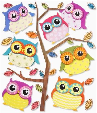 Eulen Aufkleber Set für Kinderzimmer Wand Tür Fenster Schrank Wandtattoo Sticker