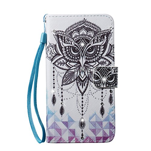 iPhone 8 Plus Case, iPhone 7 Plus Case, Easytop Luxury Bling Design PU Leather Case Wallet Flip Cover Case with Hand/Wrist Strap Built-in Card Slots & Stand Magnet Closure (Owl Windbell)