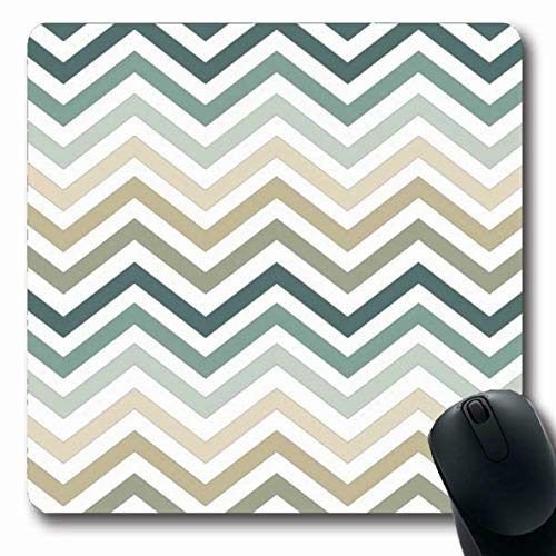 Argyle Triangle Top - Ahawoso Mousepad for Computer Notebook Colors Beige Chevron Zigzag Pattern Blue Triangle Abstract Argyle Autumn Bright Design Classical Oblong Shape 7.9 x 9.5 Inches Non-Slip Gaming Mouse Pad