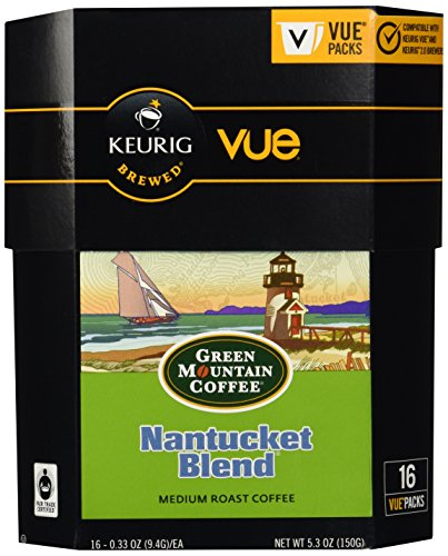 Green Mountain Coffee Nantucket Blend, Vue Cups for Keurig Vue Brewers 32 Count - Nantucket Green