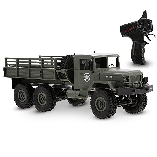 Goolsky WPL B-16 1/16 2.4G 2CH 6WD Military Truck RC Off-road Crawler Army Car Electric Vehicle With Light RTR Children Gift Kids Toy