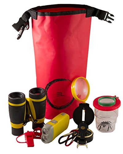 Dry Explorer - Kids Outdoor Adventure and Bug Explorer Kit with Waterproof Dry Bag, Bug Container, Magnifying Glass, Binoculars and More (9 Piece Set)