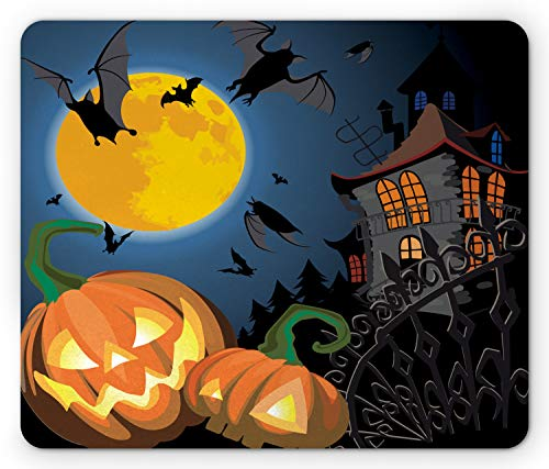 Halloween Trick Or Treat Computer Game (Ambesonne Halloween Mouse Pad, Gothic Halloween Haunted House Party Theme Design Trick or Treat Motifs Print, Standard Size Rectangle Non-Slip Rubber Mousepad,)