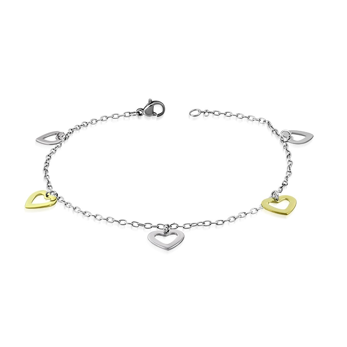 Stainless Steel 2 Color Open Love Heart Charm Bracelet// Anklet with Extender Chain
