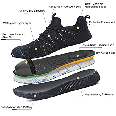 SYLPHID Steel Toe Shoes Work Safety Shoes for Men and Women Lightweight Breathable Industrial & Construction Sneakers Puncture Proof Footwear