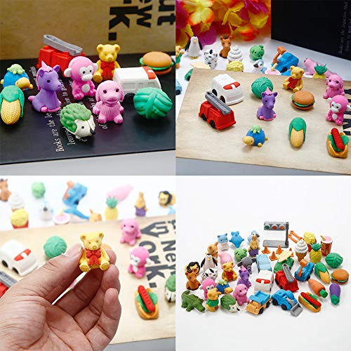Geefia Animal Pencil Erasers, 40 Pcs Collectible Animals Food Fruits Pencil Erasers Puzzle Toys Best for Party Favors, Classroom Rewards School Supplies by Geefia (Image #4)