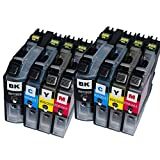 Karl Aiken 8 PK Compatible Ink Cartridges for Brother LC203 LC-203 (2 Black, 2 Yellow, 2 Magenta, 2 Cyan) for Multifunction Printers MFC-J4320DW, MFC-J4420DW, MFC-J4620DW, MFC-J5620DW, MFC-J5720DW