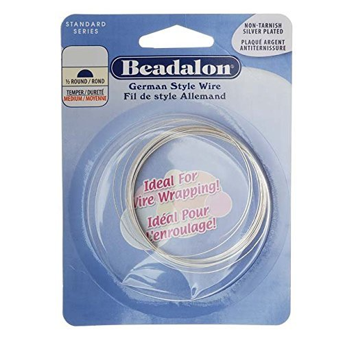 Beadalon German Style Wire, Half Round, Tarnish Resisitant Silver Plated, 22 Gauge, (Best Plated Rounds)
