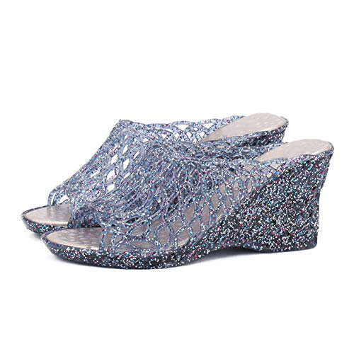 Ladies Jelly Shoes - xsby Women Wedge Peep Toe Summer Transparent Beach Shoes Ladies Jelly Glitter Sandals Dark Blue 39