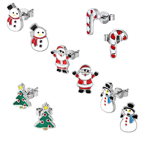 Christmas Stud Earring Set - Pack of 5 Pairs Hypoallergenic Christmas Gift Earrings for Teen Girls Women Earrings Including Red Santa Claus, Candy Cane, White Snowman, Green Christmas Tree (Best Hypoallergenic Christmas Trees)