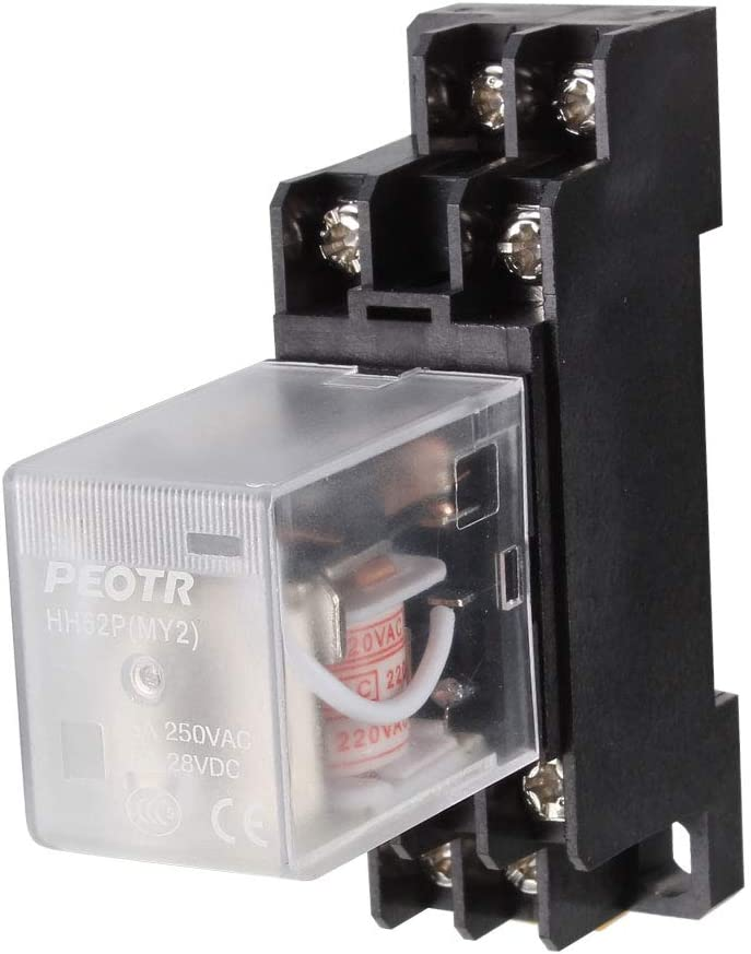 sourcing map AC200V/220V Relé electromagnético para montaje en carril DIN Bobina Motor DPDT Control