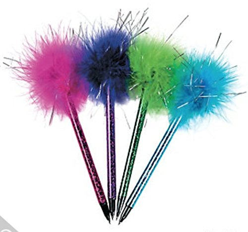 36 Marabou Feather Boa Topped Ballpoint Pens with Shimmery ()