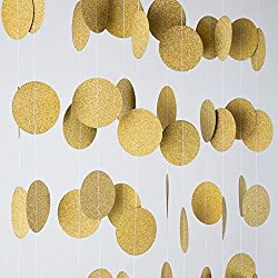 MOWO Glitter Paper Garland Circle Dots Hanging Decor,2'' in Diameter,9.8-feet(gold glitter,2pc)