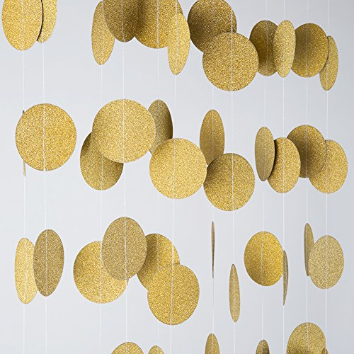 MOWO Glitter Paper Garland Circle Dots Hanging Decor,2'' in Diameter,9.8-feet(gold glitter,2pc) ()