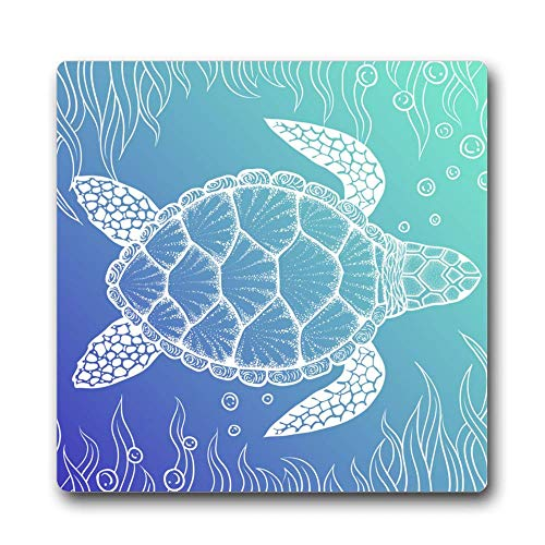Sea Turtle in Line Coaster Mat Absorbent Ceramic Stone with Durable Cork Backing