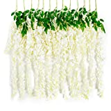 """Huata 10PCS 38"""" Artificial Silk Wisteria Vine Ratta Hanging Flower For DIY Wedding Receptions,Garlands,Arches,Dining,Table Centrepieces(White)"""