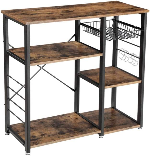 Coffee Bar Microwave Stand Metal Frame AZ L1 Life Concept Industrial Kitchen Rack Wire Basket 6 Hooks Mini Oven Spices Utensils Simple Assembly 35.4inch Rustic Brown