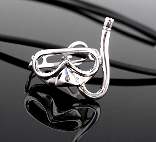 Moveable Strap 3D Scuba diving Snorkeling Mask & Snorkel Sterling Silver Pendant Necklace Snorkeler diver Nautical - Jewelry Diving