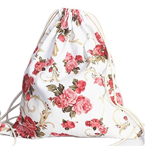 HITOP Floral Casual Canvas Backpack Drawstring Bag, Fashion Cute Lightweight Backpacks for Teen Young Girls
