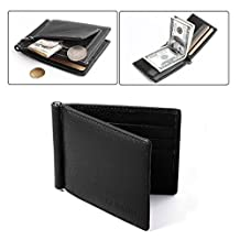Ultra-slim Leather Men Wallet, Faux Cowhide Leather, Bi-Fold Flip Wallet with 6 Credit Card Slots, Note Clip, Coin Pocket (Black)