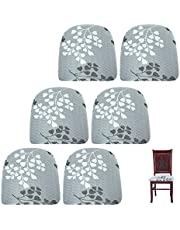 BTSKY 6 Pack Stretch Dining Chair Seat Covers, Removable Washable Seat Slipcover Anti-Dust Upholstered Chair Seat Seat Cover for Dining Room Kitchen Office, Style 2
