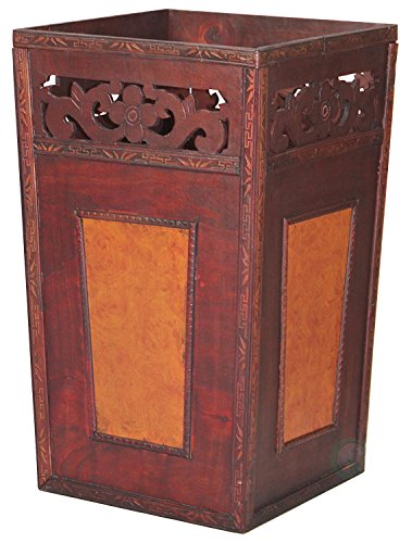Wood Wastebasket (Handcrafted Wood And Faux Leather Wastebasket)